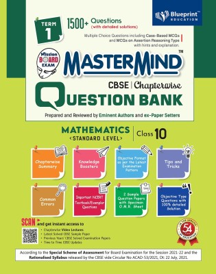 Master Mind CBSE Question Bank - Mathematics Standard Level Class 10  Term 1  For Session 2021-2022 (Objective Format As Per The Latest Examination Pattern)(Paperback, Blueprint Expert Panel)