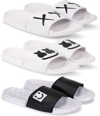 Monoction Combo pack of 3 pair Trendy Fasion latest desigin sporty slides and flip flops for men Slides