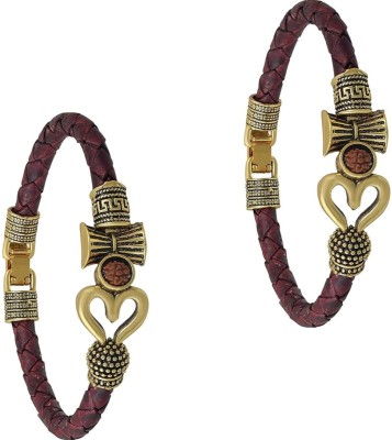 Collection Route Leather Beads Bracelet Set(Pack of 2)