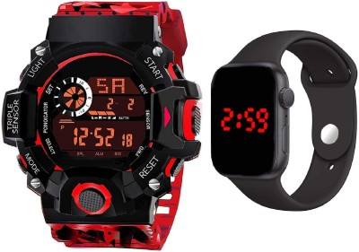 hala VKRDG810 Multi-Function Stylish Sports Militaries New Arrival Silicon Strap Digital Pack of 2 Combo Men And Boys Hot And Cool Best Quality Evers New Year Fashion Sports Digital Stylish Lights New Generation Amazing Look Cool Style Digital Watch Digital Watch  - For Boys