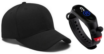 x-lent COMBO PACK WITH DIGITAL WATCH SOLID CAP Cap(Pack of 2)