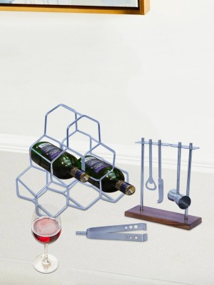 Nestroots Wine Rack Bar Cabinet for Home Wine Bottle Holder bar Accessories Mini bar Counter, DoBartender kit Bar Tools Set bar Accessories, bar Decoration Mini bar for Home peg Measurer, Cheese Knife with Stand for Wine Making Equipment Home kit Set of 4 Silver 6 Slice Toast Rack(Stainless Steel)
