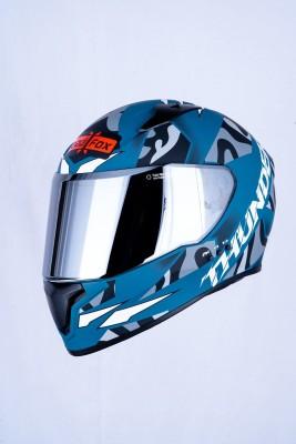 HEADFOX THUNDER BLUETOOTH Motorsports Helmet(Grey, Blue)