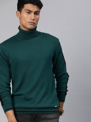 WROGN Solid Round Neck Casual Men Green Sweater
