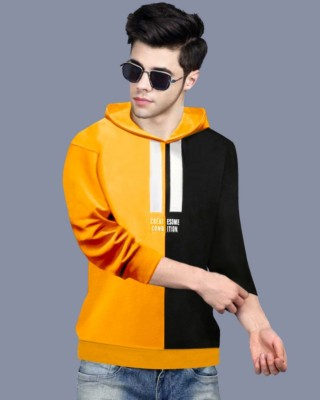FastColors Printed Men Hooded Neck Yellow T-Shirt