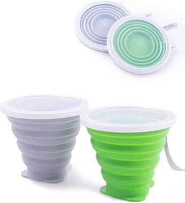 Kolorfish Silicone Collapsible Travel Cup - Folding Camping Cup with Lids - Expandable Drinking Cup Set - Portable (Pack of...