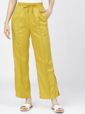 Tokyo Talkies Regular Fit Women Yellow Trousers