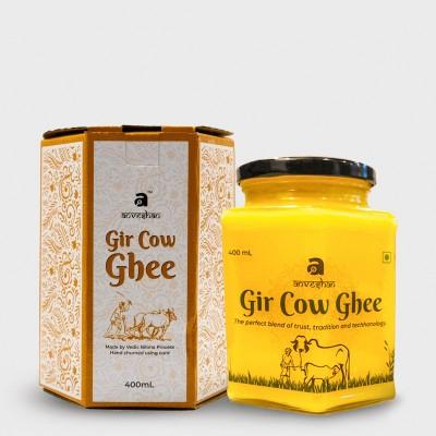 Anveshan Gir Cow Ghee 400 ml Glass Jar ( Traditional Bilona Churning of Curd ) Ghee 400 ml Glass Bottle