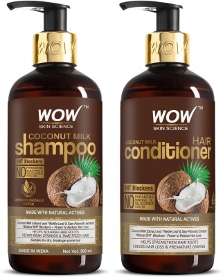 WOW SKIN SCIENCE Coconut Milk Hair Care Set - consists of Coconut Milk Shampoo & Coconut Milk Conditioner - Net Vol. 600mL(2 Items in the set)