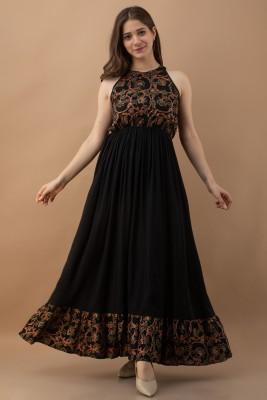 Purshottam Wala Women Maxi Black Dress