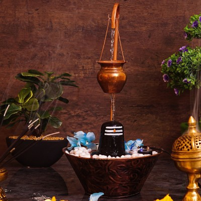 StatueStudio Lord Shiva Shivling with Water Fountain Shiva Lingam Idol Indian God Shiv Ling Idol Religious Lord Figurine with Lighting Showpiece Decorative Showpiece  -  43.1 cm(Polyresin, Copper)