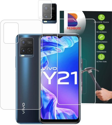 DESIBUZZ Front and Back Tempered Glass for Vivo Y21, {Flexible}, Vivo Y21 Camera Lens Protector(Pack of 3)