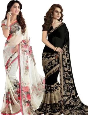 yashika Floral Print Fashion Georgette Saree(Pack of 2, Black, White)