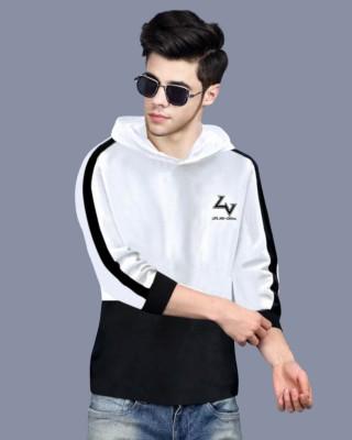 FastColors Printed Men Hooded Neck Black, White T-Shirt
