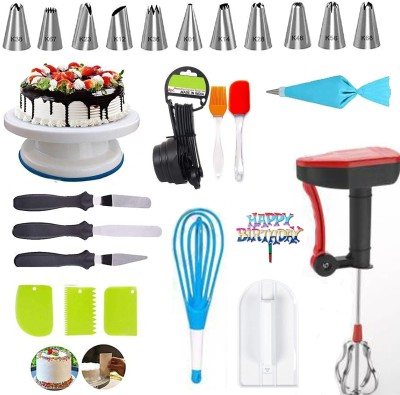 RAJJA Cake Making Revolving Turn Table, Plastic Dough Bench Scraper Cake Cutter,12 Piece Cake Decorating nozzles set with Silicone Icing Bag and Coupler,Stainless Steel Spatula knife, Chopper and 8 pcs Measuring Cup Bakeware Combo Set/Cake Decoration Tools & Accessories Set Measuring Cup & Spoon, Si