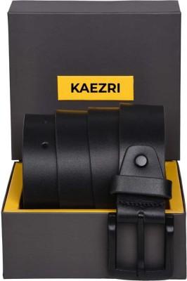 KAEZRI Men Black, Black Genuine Leather Belt
