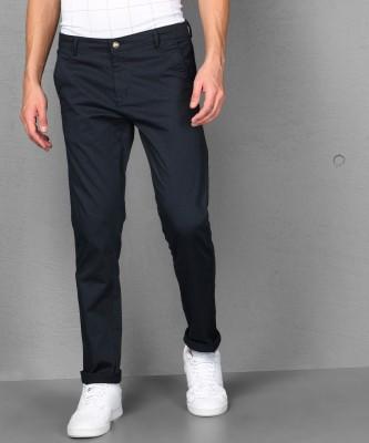 METRONAUT Slim Fit Men Cotton Blend Dark Blue Trousers