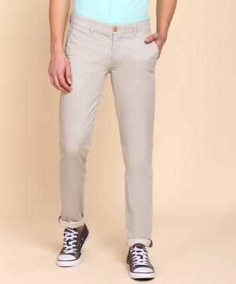 PARX Slim Fit Men Beige Trousers