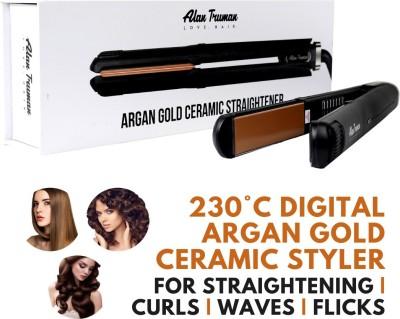Alan Truman Professional Argan Gold Ceramic Straightener Argan Gold Ceramic Professional Hair Straightener(Black)