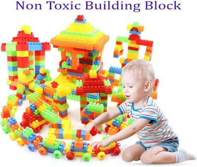 BOZICA Good Quality Building Blocks Brick DIY Assemble Toy (92 Pieces +8 Wheels) 100 pieces Blocks Interlocking Feature Best Gift For Kids increase IQ Level Learning Toy(100 Pieces)