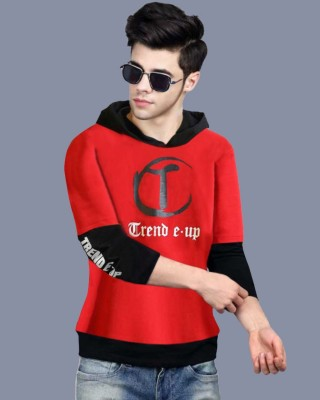 FastColors Printed Men Hooded Neck Red, Black T-Shirt