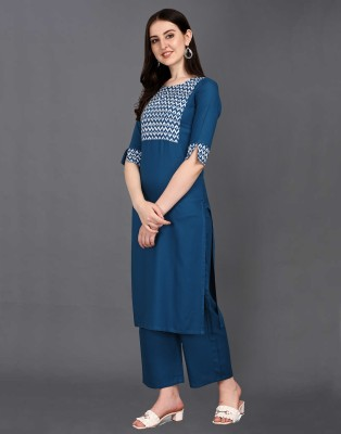 SAARA Women Chevron/Zig Zag, Geometric Print, Printed Straight Kurta(Blue)