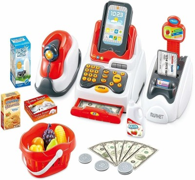 Richuzers Supermarket Cash Register Play Set with Real Counter Sound for Kids with Checkout Scanner,Fruit Card Reader, Credit Card Machine, Play Money and Food Shopping Play Set,Plastic,Multi color, Pack of 20+ accessories
