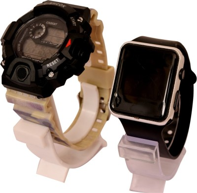 epoch Biege Color Multi-Function Stylish Sports Militaries New Arrival Silicon Strap Digital Pack of 2 Combo Men And Boys Hot And Cool Best Quality Evers New Year Fashion Sports Digital Stylish Lights New Generation Amazing Look Cool Style Digital Watch Digital Watch Digital Watch  - For Boys & Girl