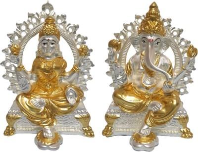 VACCHI Laxmi Ganesh Murti Idol for Mandir | Real 24kt Gold & 999 Silver Plated Lakshmi Ganesha Statue for Home Temple Decorative Showpiece  -  9 cm(Gold Plated, Silver Plated, Polyresin, Gold, Silver)