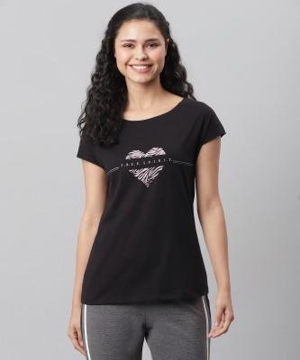 JOCKEY Graphic Print Women Round Neck Black T-Shirt
