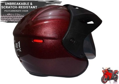 MonteX-1 brownish-red half face helmet Motorbike Helmet(brownishred, Black)