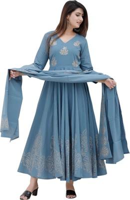 Skyasia Women Printed Anarkali Kurta(Blue)