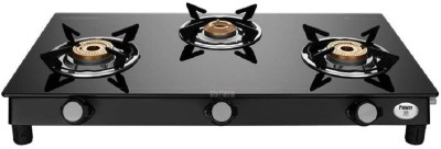 Preethi Bluflame Sparkle Power Duo Glass top 3 Open burner gas stove, Manual Ignition Glass Manual Gas Stove(3 Burners)