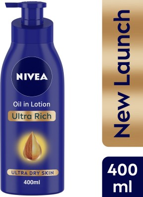 NIVEA Body Lotion for Extremely Dry Skin, Oil in Lotion Ultra Rich, With Natural Almond Oil & Vitamin E(400 ml)