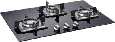 GLEN 3 Burner Built In Glass Hob with forged Brass Burner Auto Ignition (1073 SQ DB) Glass Automatic Hob(3 Burners)