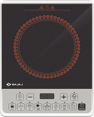 BAJAJ ICX Pearl Induction Cooktop(Black, White, Red, Push Button)