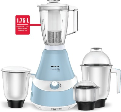 HAVELLS Energia NV 600 W Mixer Grinder (4 Jars, Blue)