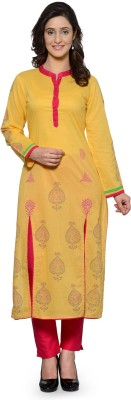 Tulsattva Women Printed A-line Kurta(Yellow, Red)