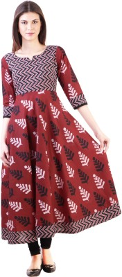 Libas Printed Women's Anarkali Kurta(Maroon)  available at flipkart for Rs.612