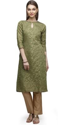 Abhishti Women Self Design A-line Kurta(Green) at flipkart