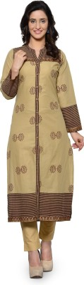 Tulsattva Women Printed, Embroidered Straight Kurta(Orange, Gold)