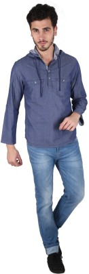 Caricature Solid Men's Straight Kurta(Blue)
