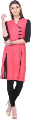 Aamii Printed Women's Straight Kurta(Black, Pink)