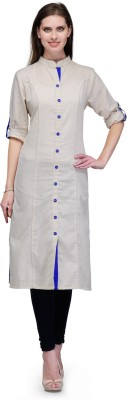 Tulsattva Women Solid Straight Kurta(White, Blue)