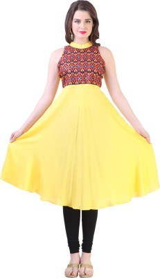 Libas Self Design Women's Anarkali Kurta(Yellow)