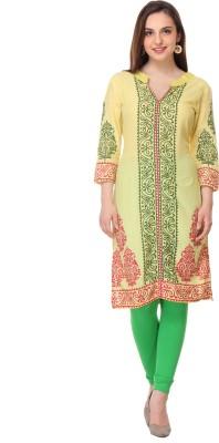 Aamii Printed Women's Straight Kurta(Beige)