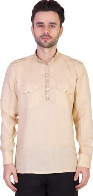 Desam Solid, Embroidered Men's Straight Kurta(Beige)