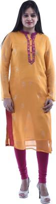 Aarr Printed Women's Straight Kurta(Orange)