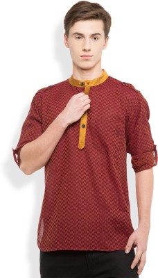 0790226e4 Rene Self Design Men s Straight Kurta Red Best Price in India