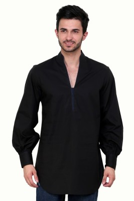 Dazzio Solid Men's Straight Kurta(Black, Blue) at flipkart